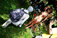 (door101) Tags: bike bicycle bodypaint nakedwoman nakedman nakedride 1424 worldnakedbikeride2010 nakedbikeride12june2010 nakedcrowd worldnakedbikeridelondon2010