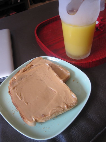 peanut butter on toast, OJ
