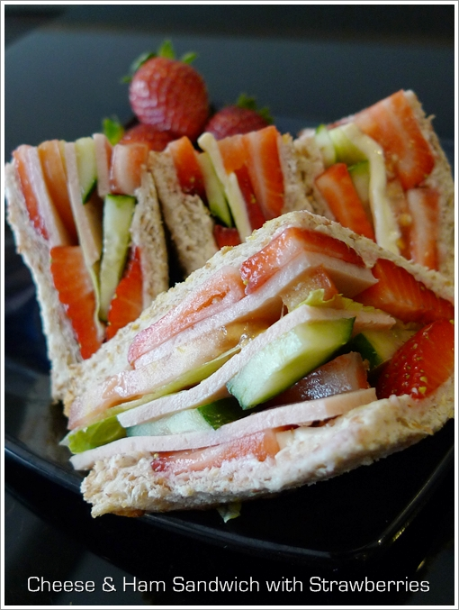 Cheese & Ham Sandwich with Strawberries