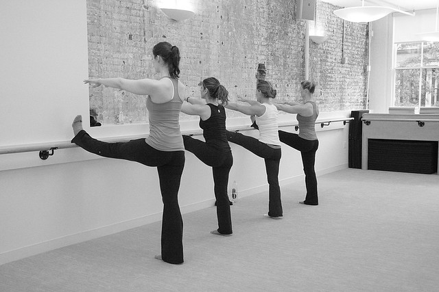 exercise class with ballet bar