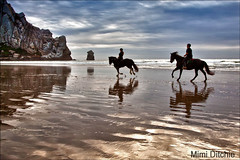 Riding To The Rock (Mimi Ditchie) Tags: sunset horses sand pacificocean morrobay morrorock horseriders nikfilter theunforgettablepictures morroexpopromoapproved hdrefexpro