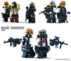 Bank Robbers WIP (Shobrick) Tags: red reflex lego mask ak bank dot gas tt sight custom grenade m4 mag hostage robbers smok drim foregrip brickarms shobrick