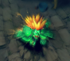 Blanka prepares to unleash his Lightning Cannonball ultra