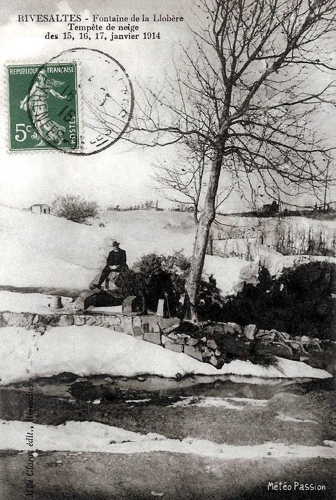 tempête de neige à Rivesaltes du 15 au 17 janvier 1914