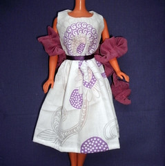 Made from scraps! (skipscales) Tags: ooak barbie fashion 50sdress summer dress boa cotton handmade doll clothes white purple