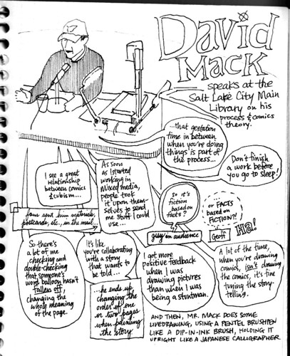 Sketchbook notes on David Mack's visit