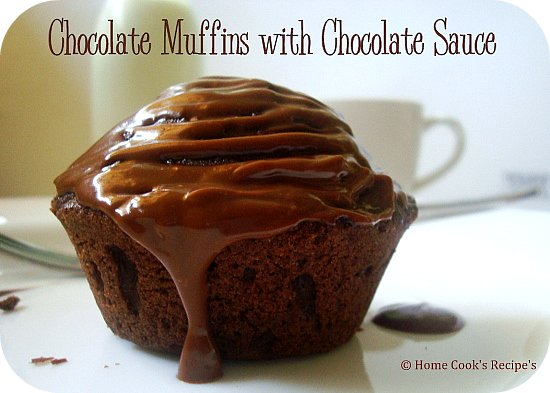 Chocolate Muffins with Chocolate Sauce