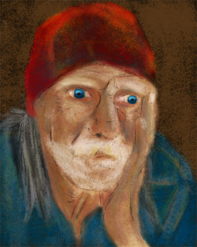 homeless man painting V2