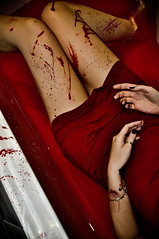 Blood Bath (Jerrycharlotte) Tags: red woman black feet water girl strange tattoo ink dead bathroom death weird pain blood hands bath dress legs cut expression young gash gore torture horror bloody wound cuts horrific