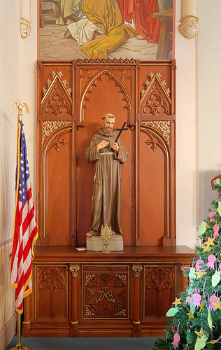 Saint Francis of Assisi Roman Catholic Church, in Aviston, Illinois, USA - altar of Saint Francis with relic