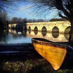 ~ (digitalpsam) Tags: uk bridge sky sun yellow reflections boat swan pretty mood glow reflexions warwickshire stratforduponavon imagery riveravon sammatta