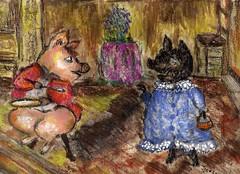 Pigling Bland Shares His Porridge With Pig-Wig From Berkshire by Jo Goodliffe www.jogoodliffe.co.uk (jogoodliffe uk) Tags: beatrixpotter jo pigwig goodliffe piglingbland artistwwwjogoodliffecoukyoutubejogoodliffegoogleaolmsnvirgin