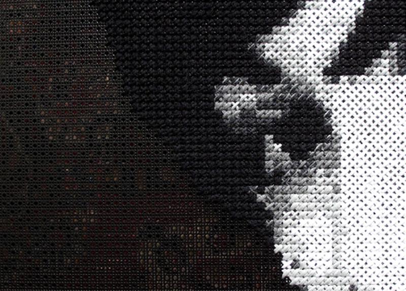 Embroidery study on radiator screen by Kristen Wicklund 2