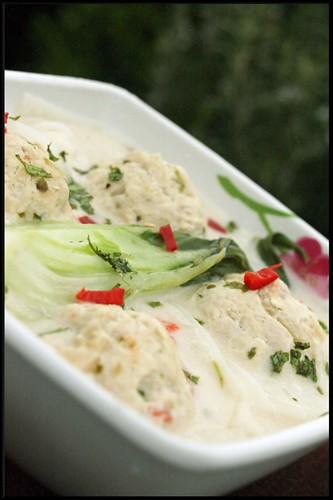 4252838029 d43babca4d Laksa asiatique de saumon   Soupe de boulettes de poulet épicées