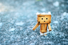 danbo on ice (James Green Photography) Tags: snow cold ice japan toy 50mm robot amazon nikon box cardboard figure 18 dano d40 revoltech danboard