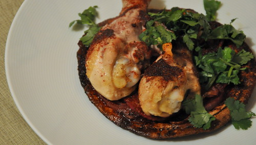 Roasted Sumac Chicken Atop Pita and Onions