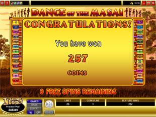 free Dance of the Masai gamble bonus game