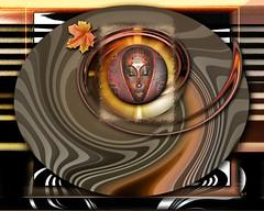 Sacred Seasons by B.Starr (BStarrArt) Tags: autumn woman abstract fall face season leaf tribal spiritual africanmask