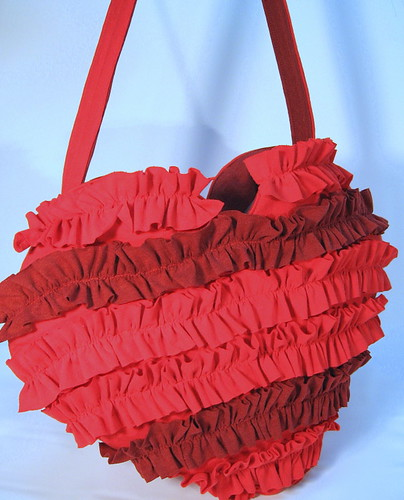 Recycled T shirt Heart shaped bag