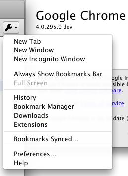 Mac Chrome 4.0.295 dev - Tools menu (detail)