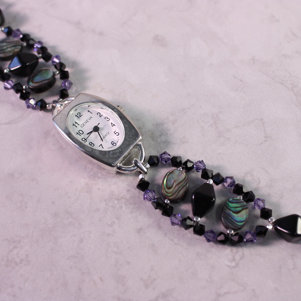 Paua Shell and Tanzanite Crystal Watch