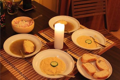 onion soup and hummus