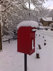 Snow topped post box in Lancashire (Tony Worrall) Tags: uk winter red england white snow cold fall ice outside countryside frozen post letters scenic lancashire cover pile freeze postbox icy snowfall chill seaonal lnacs