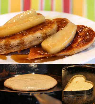 gingerbread pancakes with caramel pears