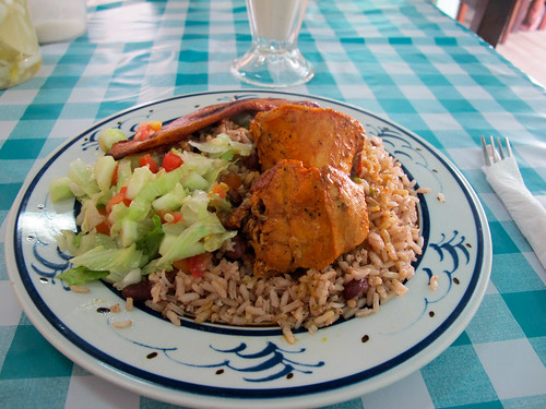 Belizean Food - Stewed Chicken, Beans and Rice