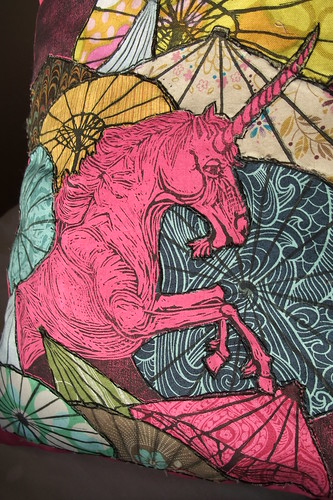 unicorn amongst umbrellas pillow detail