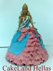 Barbie doll cake (CakeLandHellas) Tags: birthday pink blue roses party girl cake princess ribbon mattel fondant