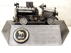 Fire engine metal welding sculpture firefighter retirement gift