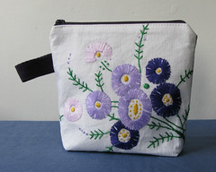 purple daisy purse (LeilaBadblood) Tags: hand recycled cotton purse pouch embroidered reclaimed thrifted