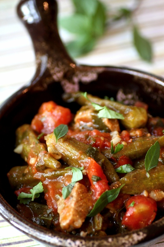 Okra, Chevon and Tomato Stew