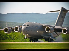 Workhorse (~Clubber~) Tags: canada airplane flying aircraft aviation military transport flight jet aeroplane cargo landing mission c17 boeing globemaster airforce touchdown turbine freight cf mobility supply canadianforces 8wing cc177