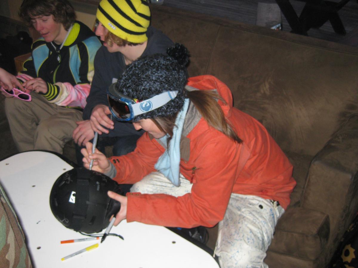 Signing a helmet
