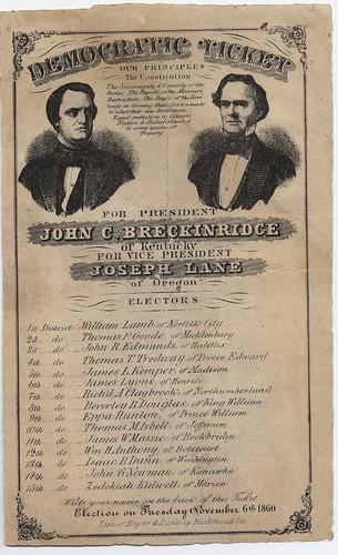 Democratic Ticket:  Breckinridge & Lane