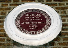 Photo of Michael Faraday brown plaque
