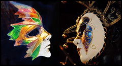 Two Masks (MissMae) Tags: gold mardigras littleitaly week8 525of2010 savagephotography themecollaborativediptych
