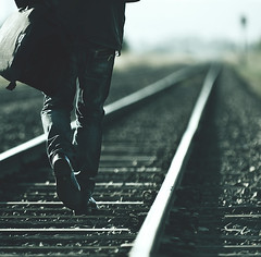 Drifter (Dylan-K) Tags: man leather rural train bag walking boots bokeh country tracks rail australia jacket queensland drifter nikkor200mmf28