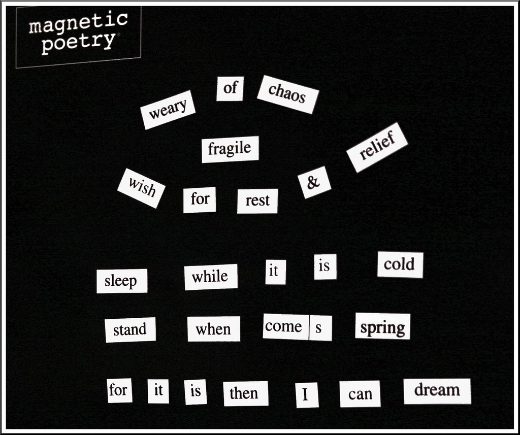 56/365 = Magnetic Poem for a Cold & Tired Day Feb 25 2010
