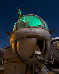 The Golden Hind (Lost America) Tags: lightpainting night fullmoon helicopter urbanexploration russian boneyard hind gunship aviationwarehouse mi24