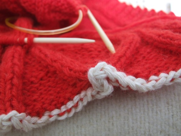 Crochet cast-on in my red cardigan