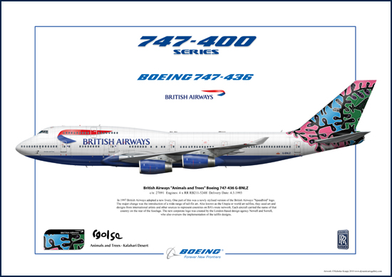 British Airways Animals and Trees , Kalahari Desert,  Boeing 747-436 G-BNLZ