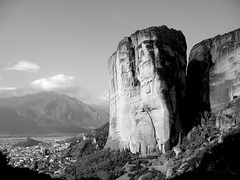 Meteora (joeri-c) Tags: bw white black rock grey blackwhite october worship rocks solitude pray unesco greece hm pinnacles rockformations ascetic meteora hermits griekenland unescoworldheritagelist blackwhitephotos rocktowers pindusmountains  plainofthessaly hermitmonks suspendedrocks 100commentgroup suspendedintheair saariysqualitypictures pineiosriver mygearandmepremium mygearandmebronze mygearandmesilver mygearandmegold mygearandmeplatinum sketeofstagoi easternorthodoxmonasteries naturalsandstonerockpillars ancientpinnacles