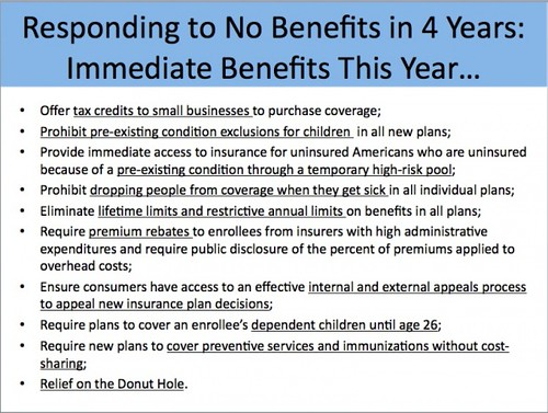 DCC list of immediate Health Care Reform benefits