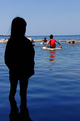 Smoky Mountain, Tondo - I will be back for you! (Mio Cade) Tags: poverty shadow sea mountain water girl silhouette bath sailing watch paddle help aid sail wait smoky