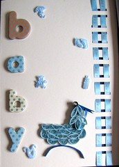 It's a Boy (yorkshirelass49) Tags: blue boy baby paper handmade birth handcrafted ribbon cradle filigree quilling paperstrips