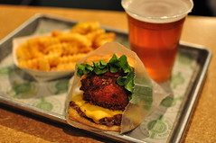 Shack Stack Burger (Danburg Murmur) Tags: newyorkcity newyork mushroom beer tomato geotagged manhattan burger fastfood frenchfries lettuce cheeseburger hamburger tray bun countertop plasticcup shakeshack americanfood waxpaper shackmeisterale geo:lat=40780826 geo:lon=73976495 shackstackburger
