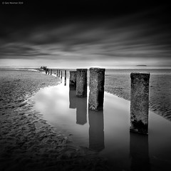 D a r k    T i m e s (Gary Newman) Tags: bw reflections square somerset posts berrow superblack d700 bigstopper